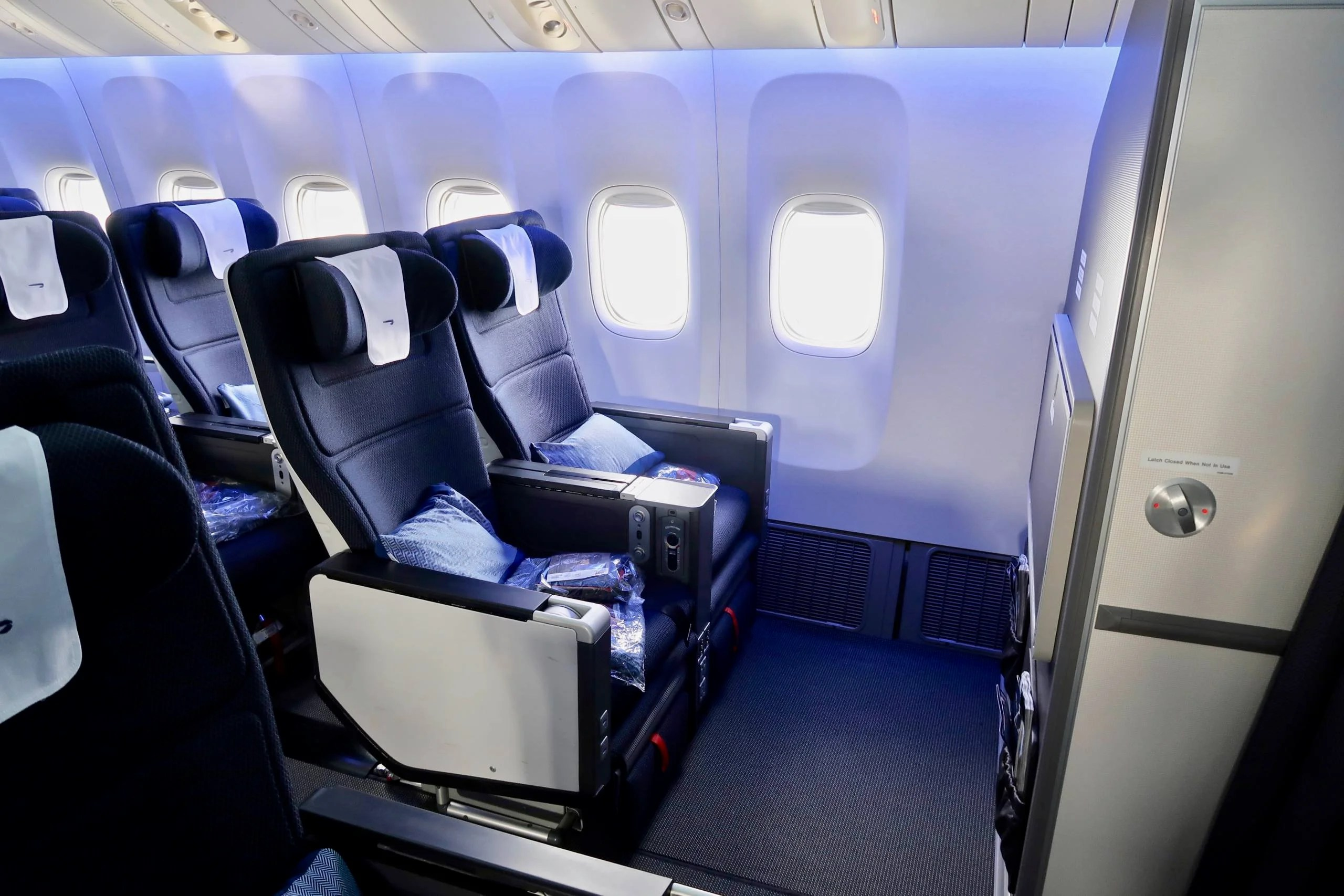 seats 20A and 20B in World Traveller Plus on the refurbished B777-200