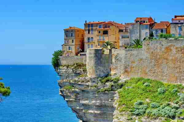 Houses at Bonifacio in Corsica is built on cliff.