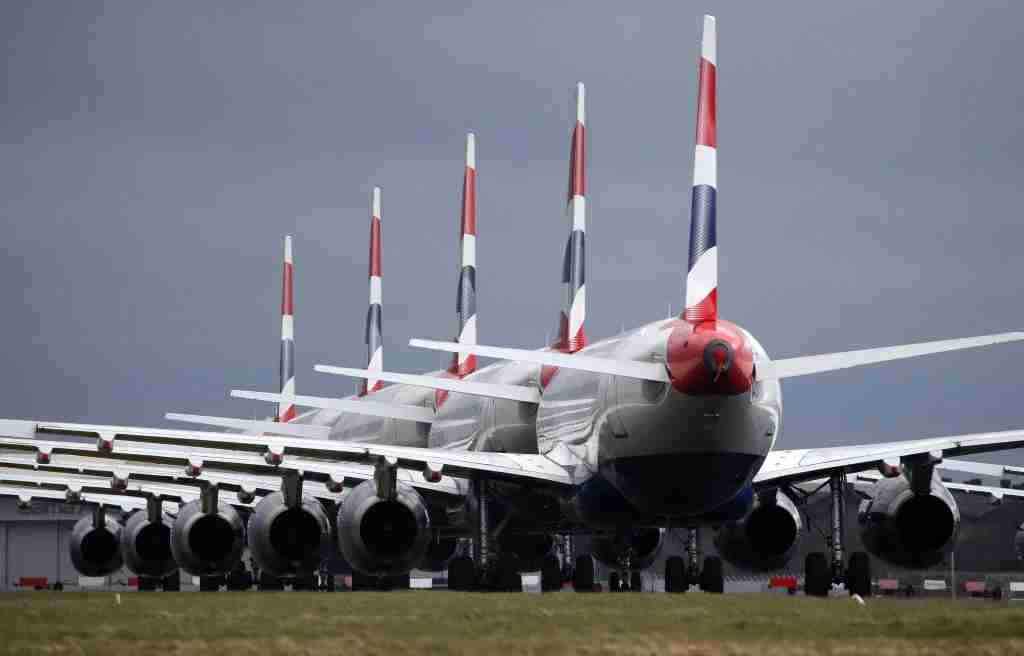 British Airways planes parked on the tarmac at Glasgow Airport after Prime Minister Boris Johnson has put the UK in lockdown to help curb the spread of the coronavirus. (Photo by Andrew Milligan/PA Images via Getty Images)