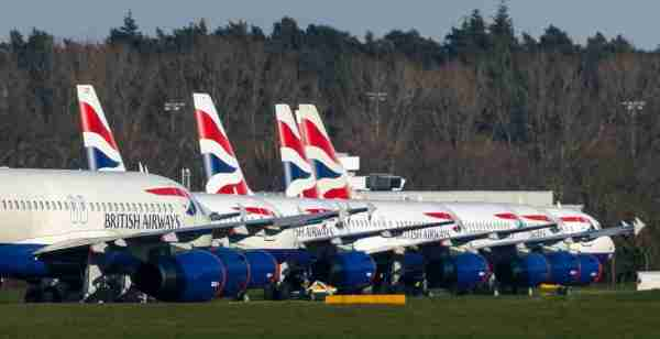 British Airways aircraft parked at Bournemouth airport where they are expected to remain after the airline reduced flights amid travel restrictions and a huge drop in demand as a result of the coronavirus pandemic. (Photo by Steve Parsons/PA Images via Getty Images)