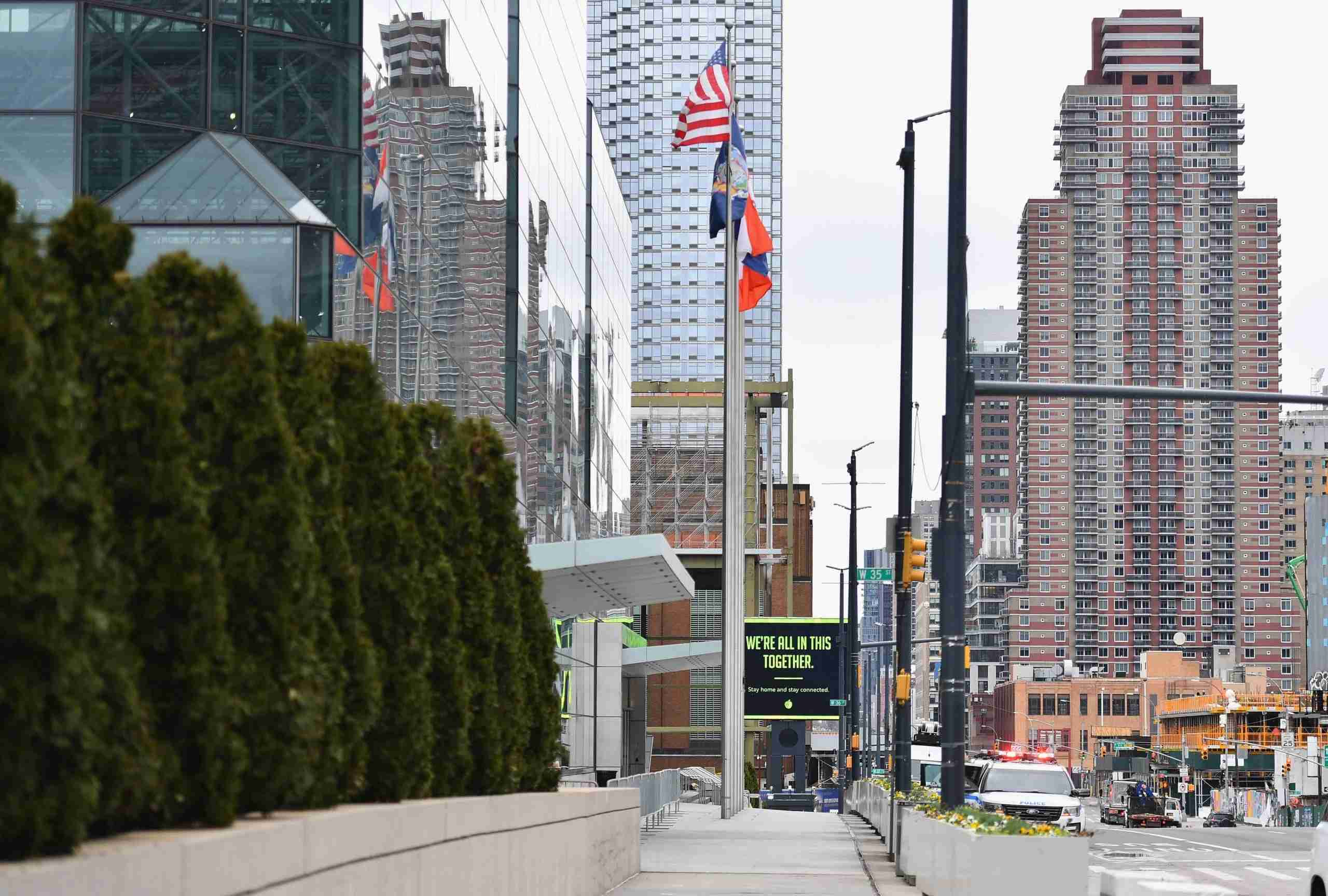 View of a digital billboard in front of the Jacob K. Javits Convention Center on March 31, 2020 in New York City. - Uneasiness about the American economy spiked in March, according to a survey released March 31, 2020, and that was before the worst of the lockdowns due to the coronavirus pandemic were imposed. (Photo by Angela Weiss / AFP) (Photo by ANGELA WEISS/AFP via Getty Images)
