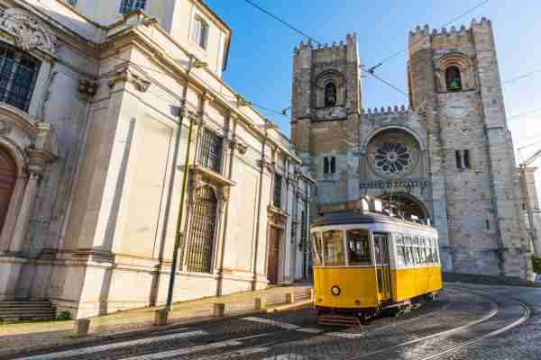 The old tram in Lisbon, Portugal. (Photo by Westend61/Getty Images)