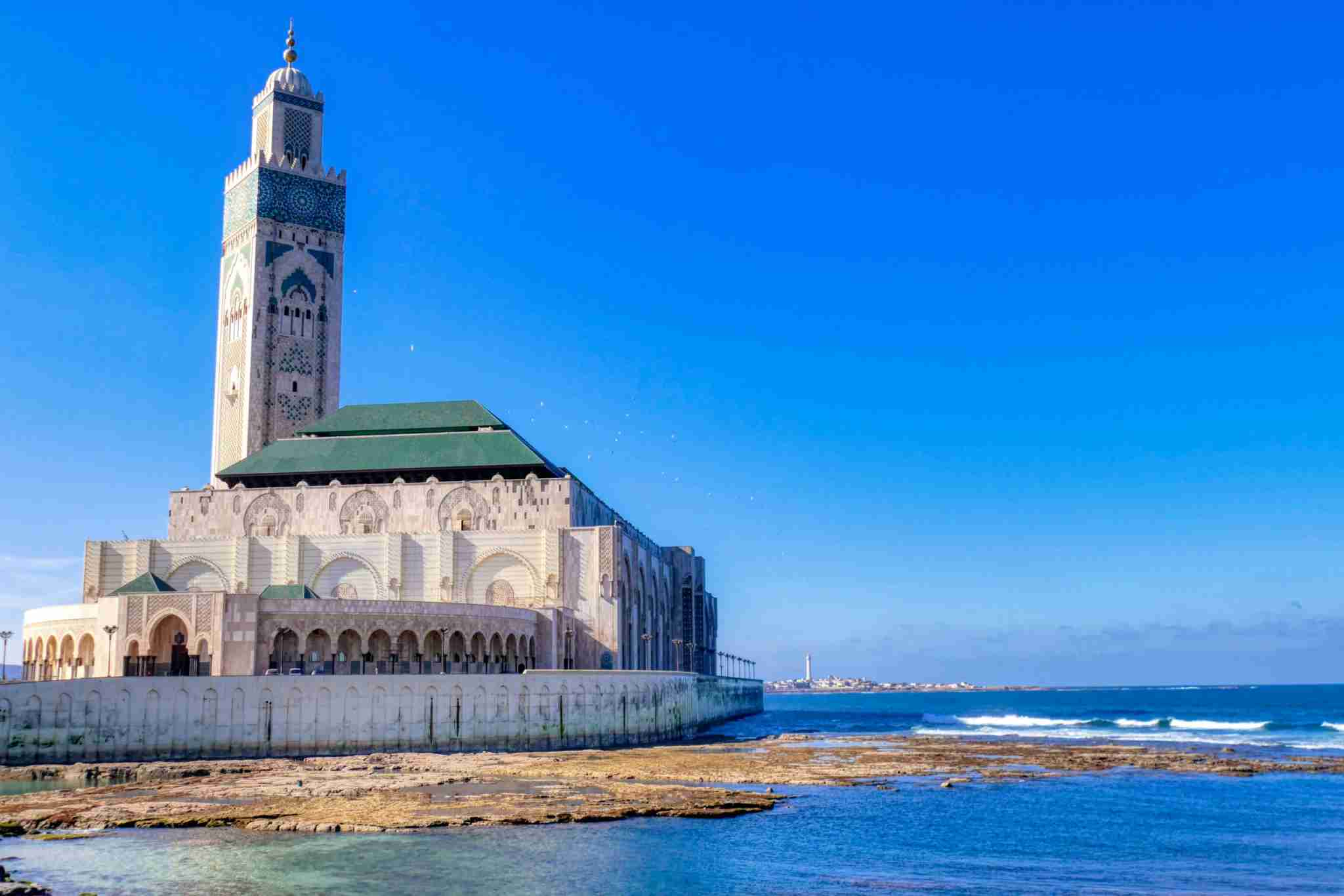 Casablanca - Morocco. Panoramic view of Casablanca waterfront area with Hassan II Mosque in the background (Photo by Piero Damiani/Getty Images)