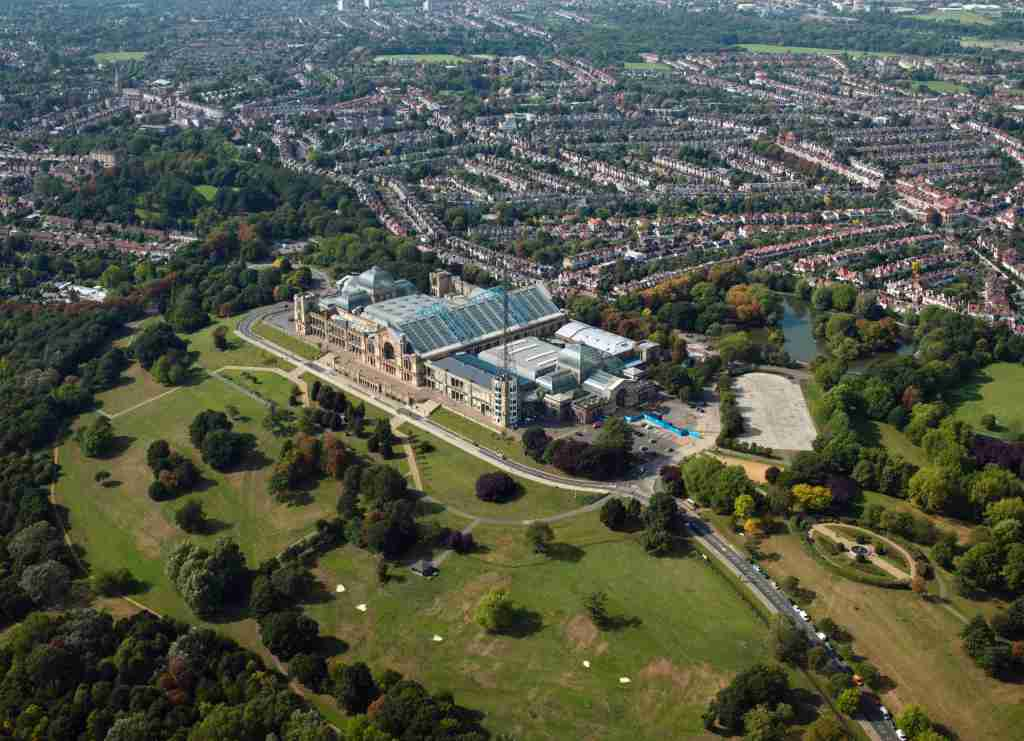 Aerial view of Alexandra Palace, London, UK., United Kingdom. (Photo by Tim Motion/Construction Photography/Avalon/Getty Images)
