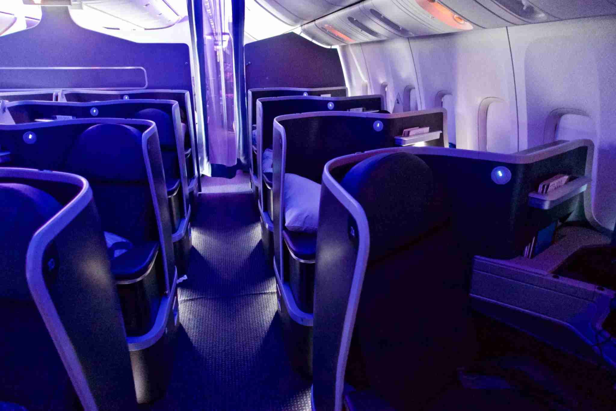 The 2nd cabin of the business class section during the flight on the American Airlines B777-200. Photo by Christian Kramer / The Points Guy