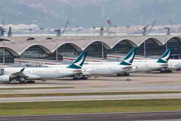 HONG KONG, CHINA - 2020/03/09: Cathay pacific  aircrafts seen parked at the Hong Kong International airport Airlines across the globe have cancelled flights, postponed or adjusted their services in response to the coronavirus outbreak. (Photo by May James/SOPA Images/LightRocket via Getty Images)