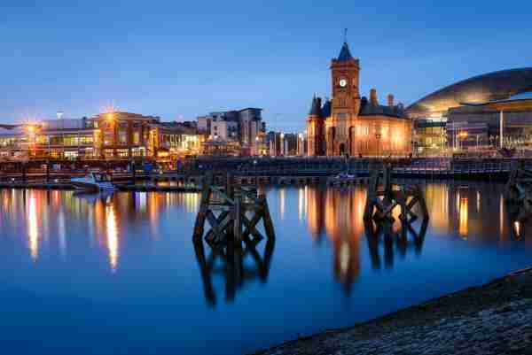 Cardiff bay at blue hour. Photo by renan gicquel / Getty Images