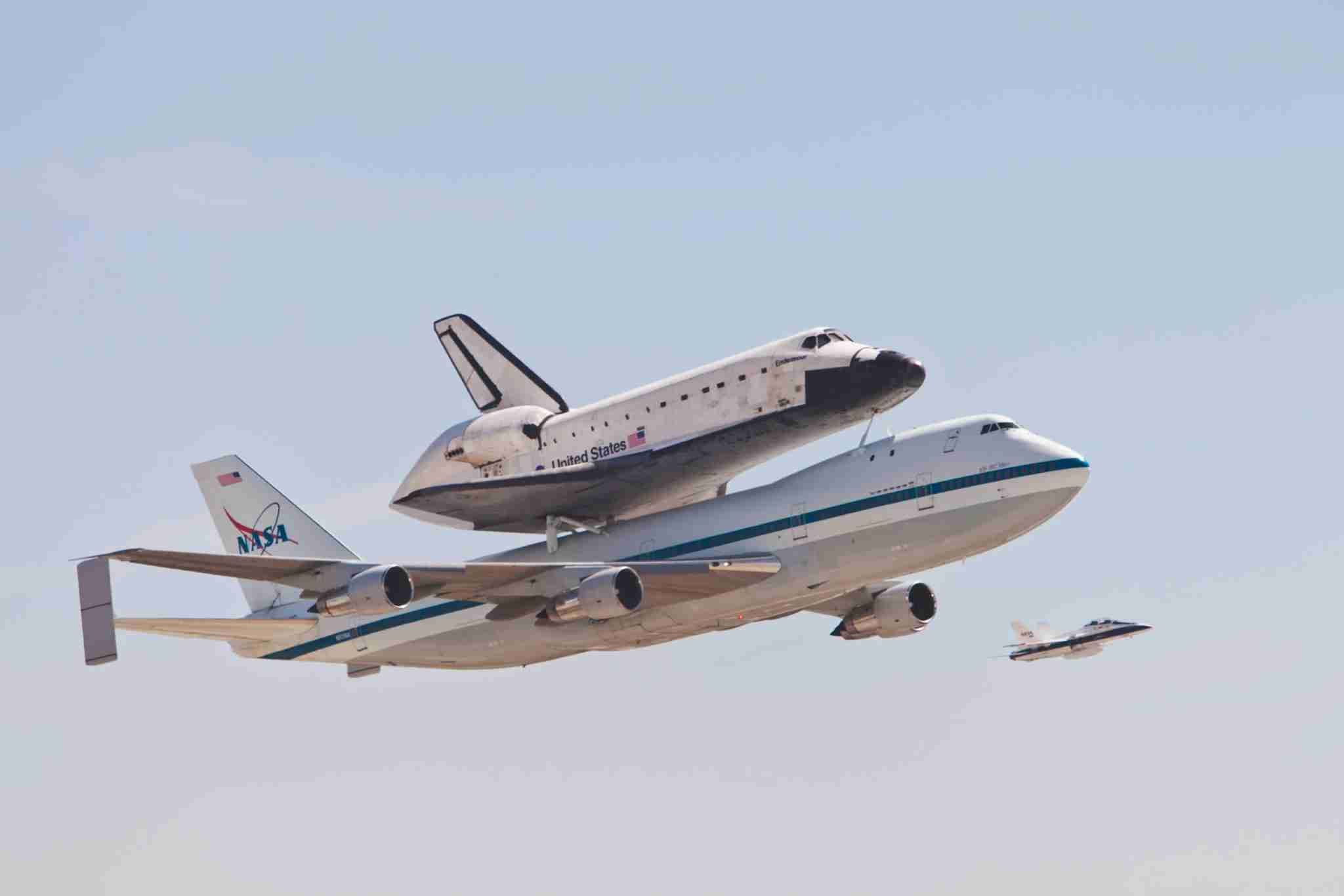 Space shuttle Endeavour, mounted aboard a Boeing 747 Shuttle Carrier Aircraft, landed at LAX. The shuttle will be removed from the 747 and placed on to a truck and moved to the California Science Center Oct. 17. The final flyover LAX. (Photo by Ted Soqui/Corbis via Getty Images)