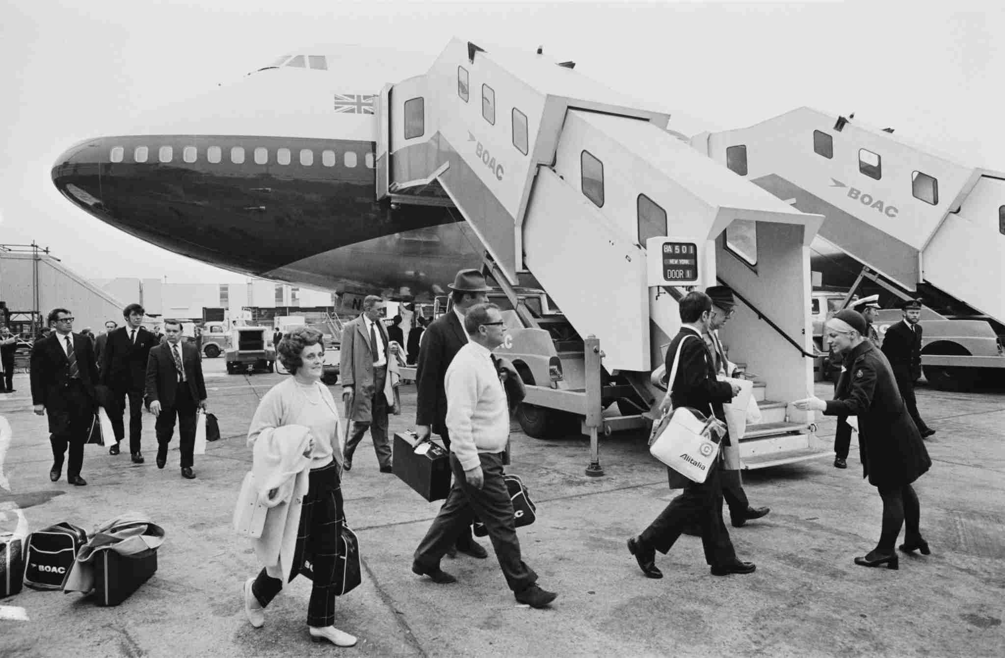 Passengers boarding on the first BOAC