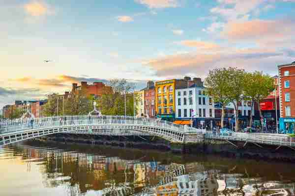 The Ha'penny Bridge is a pedestrian bridge built in 1816 over the River Liffey in Dublin, Ireland. (Photo by Peter Unger/Getty Images)