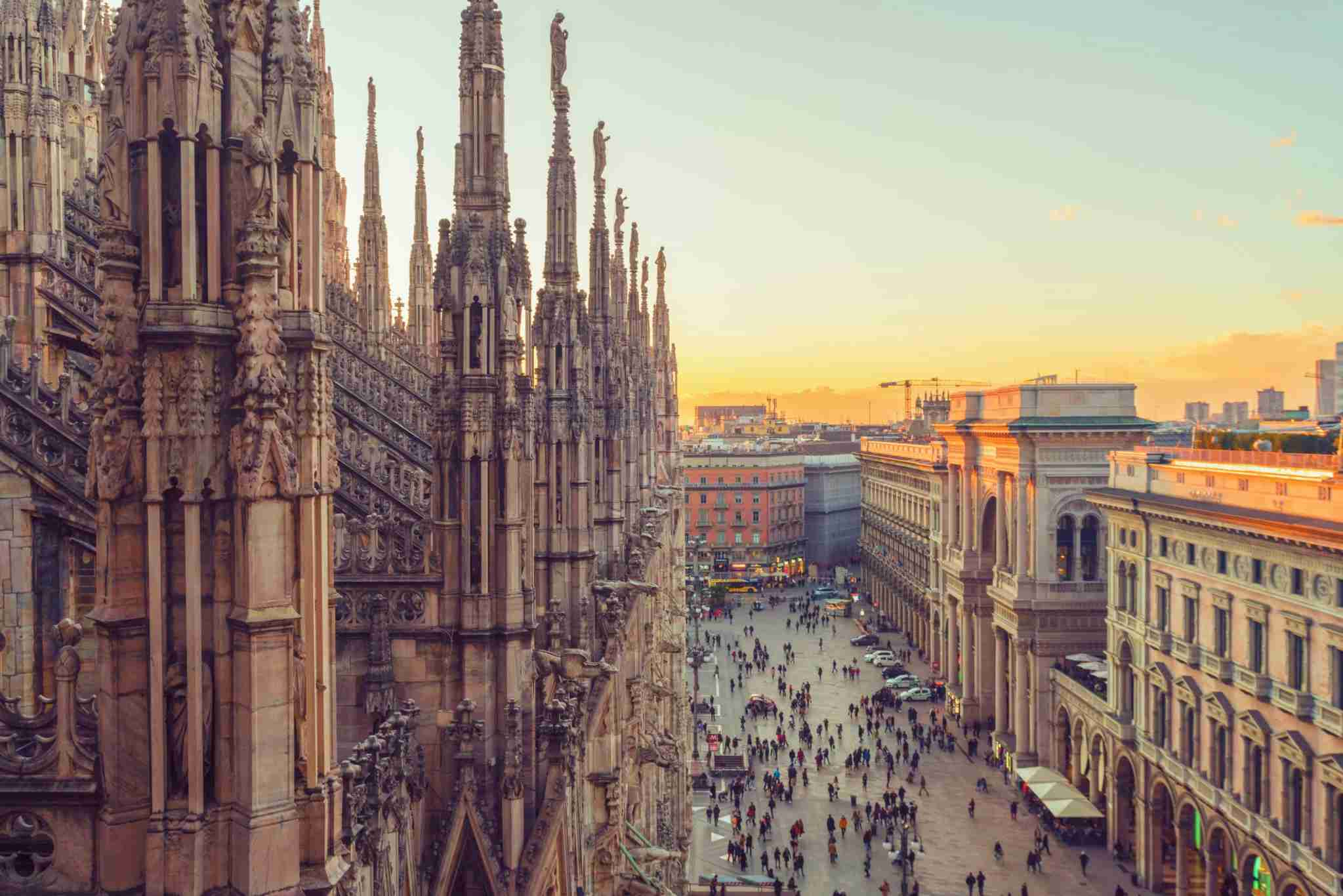Milan at sunset. (Photo by Westend61/Getty Images)