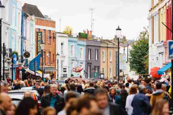 Portobello Road Market in Notting Hill. (Photo by Alexander Spatari/Getty Images)