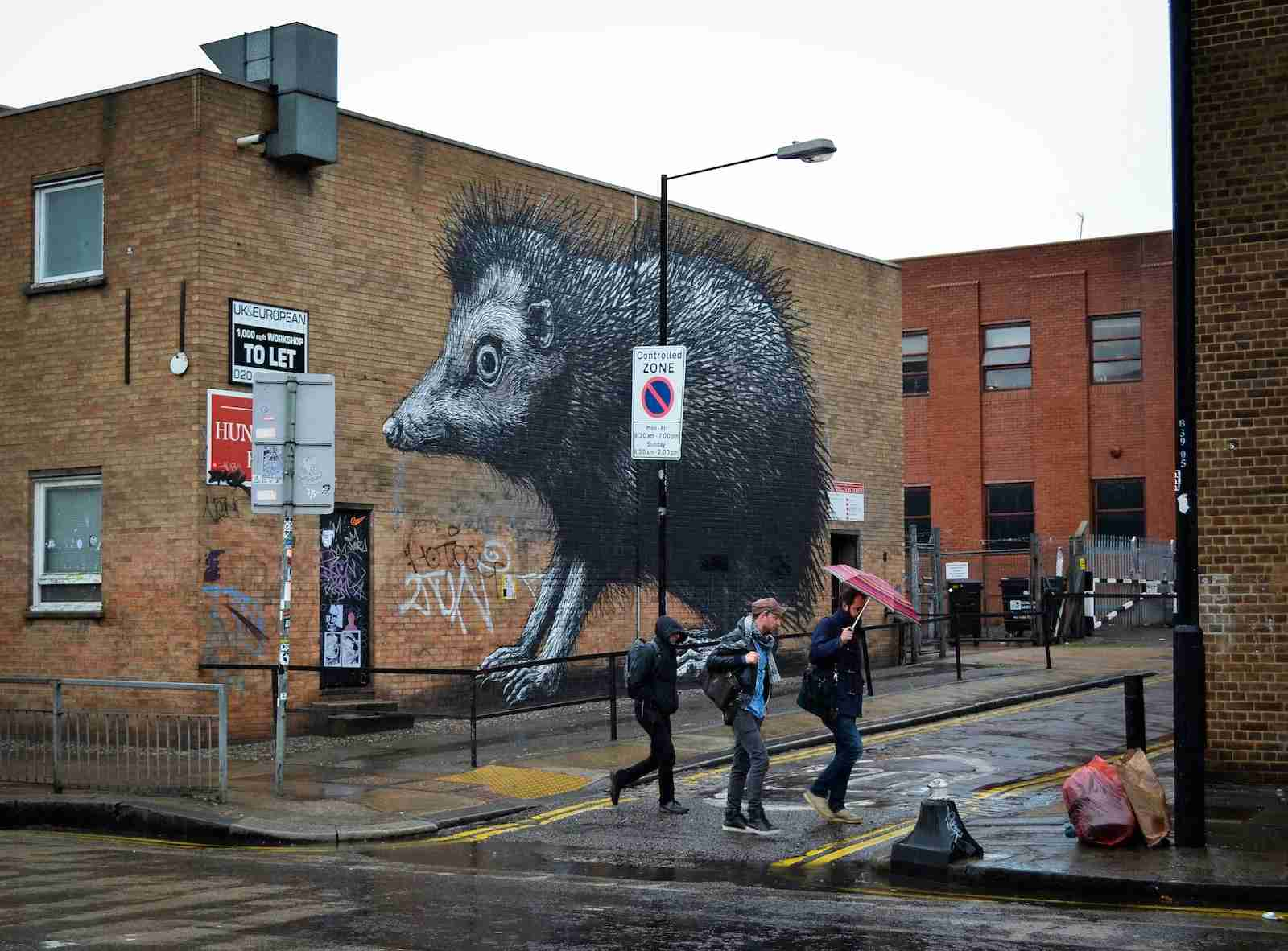 Some of the street art in Shoreditch. (Photo by S. M. Swenson/Getty Images)