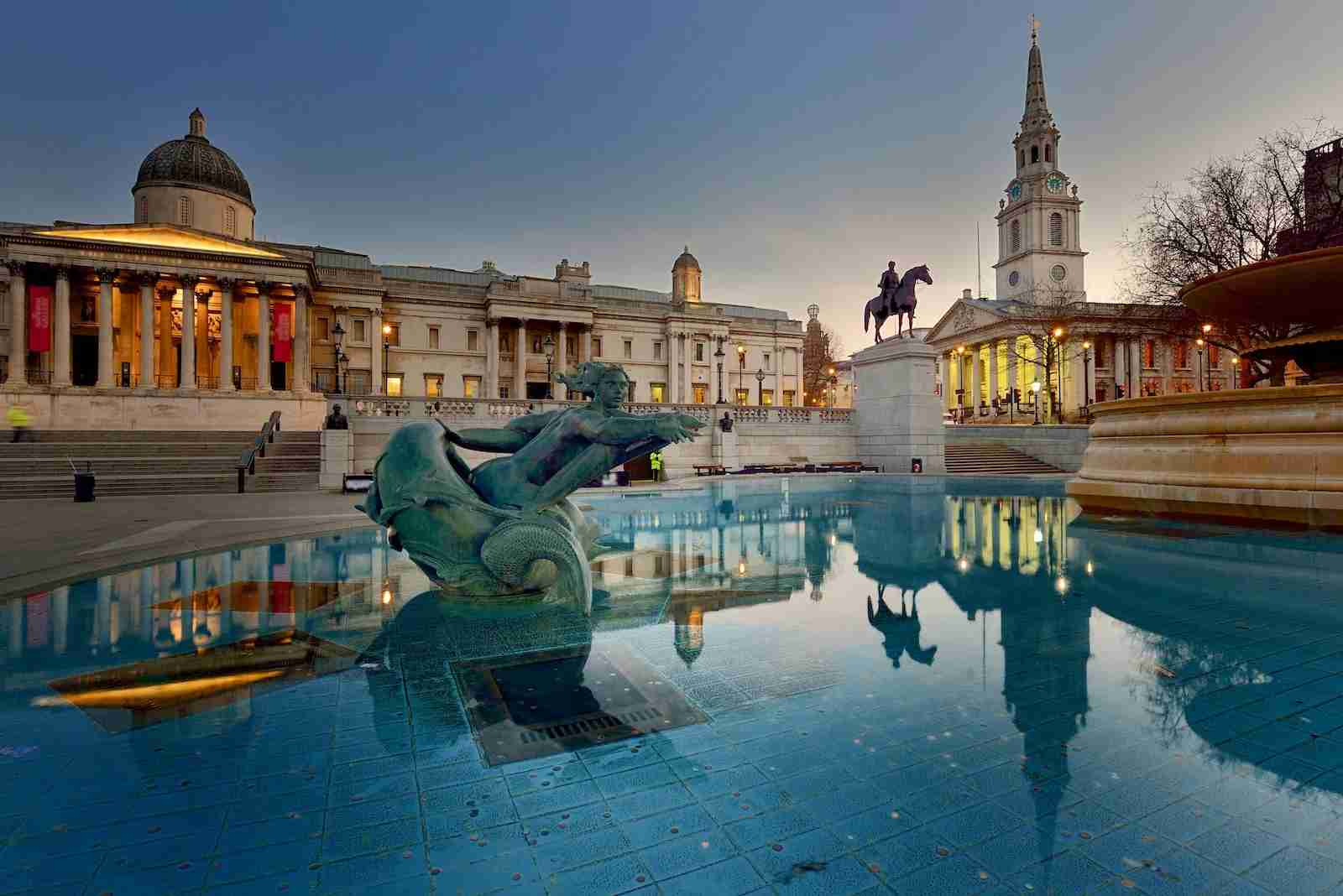 Trafalgar Square with The National Gallery building. (Photo by Vladimir Zakharov/Getty Images)