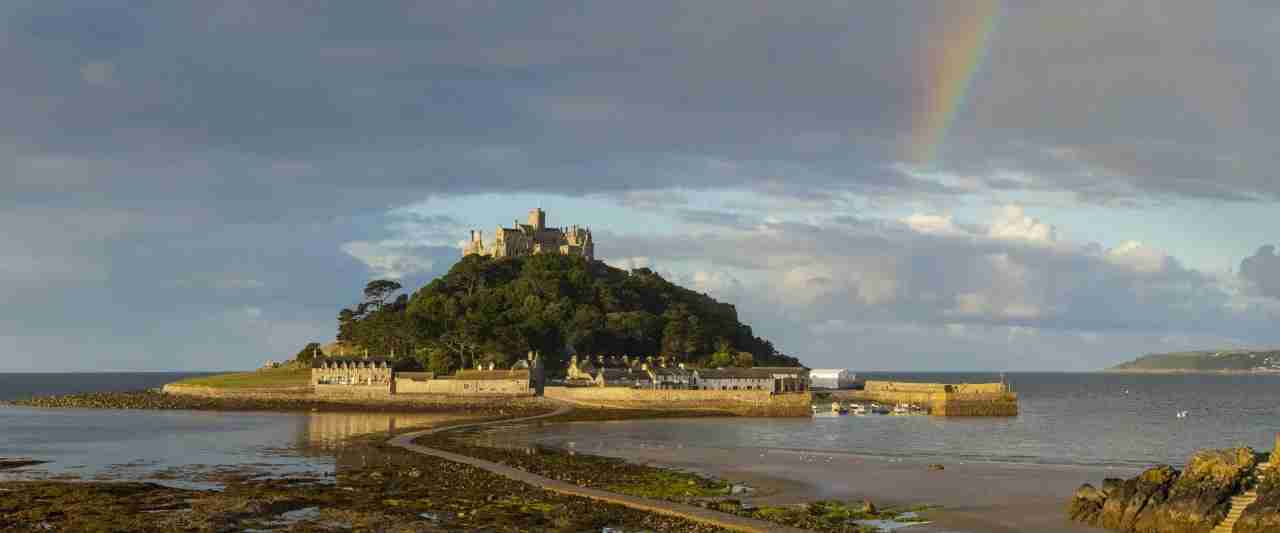 St Michaels Mount Cornwall with rainbow