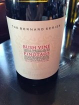 Bernard Series Bush Vine Pinotage from my dinner at Reuben's at the posh One & Only Hotel