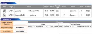 Adria Airways Ljubljana-Moscow Economy Award