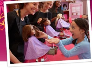 At the Doll Hair Salon your doll can get her ears pierced and relax with a Spa Deluxe Package, or a Pampering Plus Package.