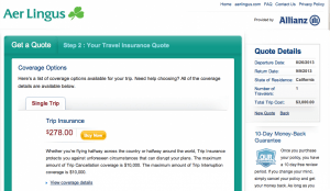 Aer Lingus Travel Insurance Cost