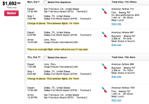American Airlines has a similar flight from San Francisco to Lima through Dallas for