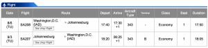 South African Airways IAD-JNB Business Class