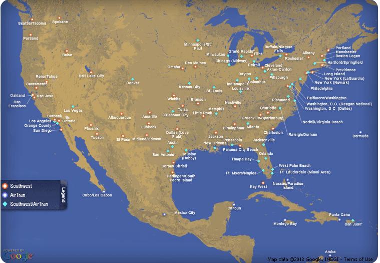 Southwest Routes To Mexico City