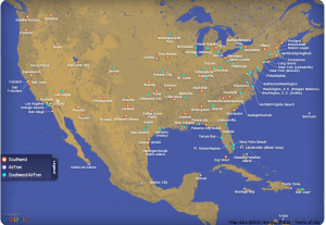 Southwest flies to most cities, so can be great for positioning flights for mileage runs.