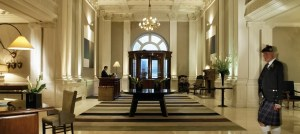 Lobby area at the Balmoral Hotel, Edinburgh.