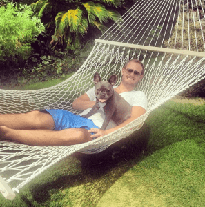 Miles and I getting some sun.