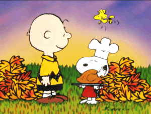 Charlie Brown and Snoopy celebrate Thanksgiving, but remember that if you travel internationally then they won