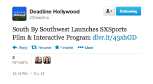 SXSW Festival in Austin will now have a sports program as well music, film and interactive.