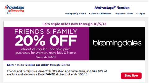 20 Off And 17 Points Miles Per Dollar At Bloomingdales With