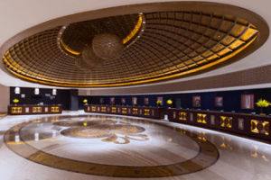 The extravagant lobby of the Sheraton Macau.
