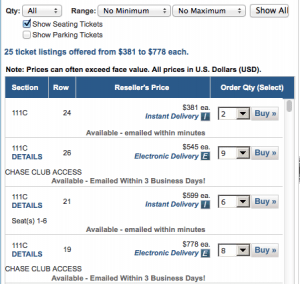 The same seats on Ticketmaster Ticket Exchange cost between $545 and $778.