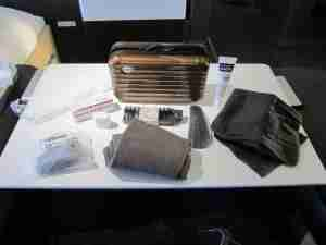 The collectible Rimowa amenity kit.