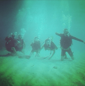 My scuba classmates on our final certification dive at the Belzona Barge off Key Biscayne
