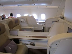 A shot across the cabin and of the middle seats.