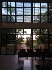 The bright Hulhule Hotel Lobby.