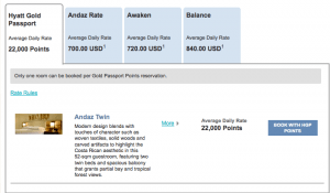 A room at the Andaz Papagayo requires 20,000 points for New Year