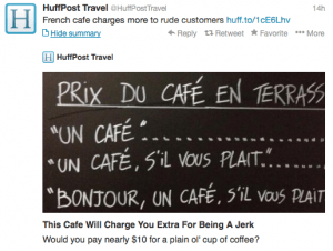Manners pay off at this French cafe.