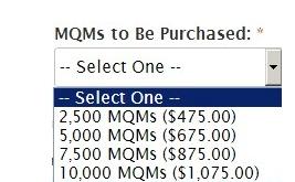 Prices to buy MQMs aren