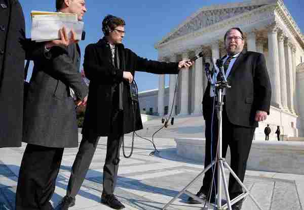 Rabbi Ginsberg outside the SCOTUS after the hearing. Photo by Jonathan Ernst for Reuters.