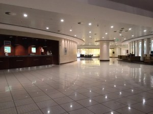 The lobby of the airport Sheraton.