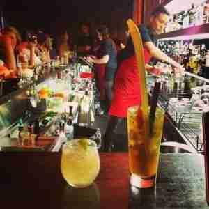 Grabbing cocktails at the bar.