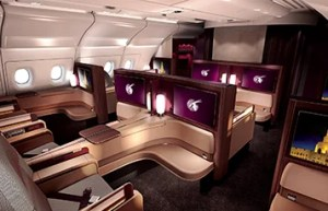 The Qatar A380 Business class seat.