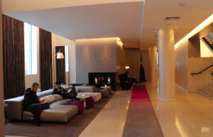 The lobby of the Morrison Hotel