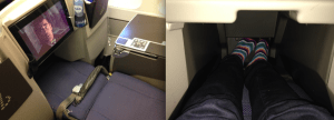 The leg rest portion of the seat slides into the space between the seats in front