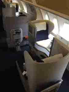 My exit row aisle seat on the upper-deck Club World