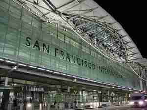 The modern facade of SFO