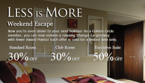 Discounts for weekend award redemptions at the Shangri-la.